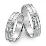 Trouwringen in 925 zilver met diamant(en) per paar _