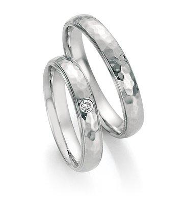 Trouwringen in edelstaal met diamant(en) per paar