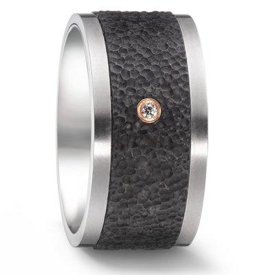 Trouwringen in Carbon, Titanium en 18 karaat roodgoud met diamant(en) per paar