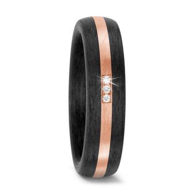 Trouwringen in Carbon en 14 karaat rosé goud met diamant(en) per paar