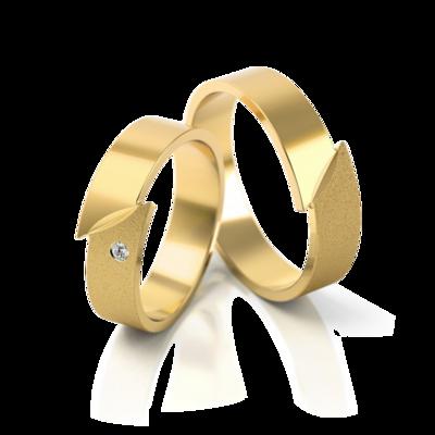 Mooye trouwringen in geelgoud met diamant