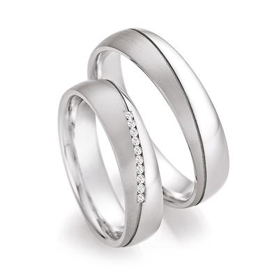 Trouwringen in 925 zilver met diamant(en) per paar