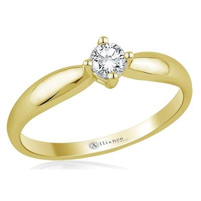 Verlovingsring in 14 karaat 585 geelgoud met diamant, vanaf