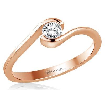 Verlovingsring in 14 karaat 585 roségoud met diamant, vanaf