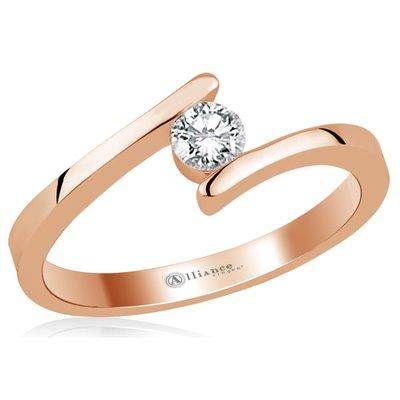 Verlovingsring in 14 karaat 585 rosé goud met diamant, vanaf