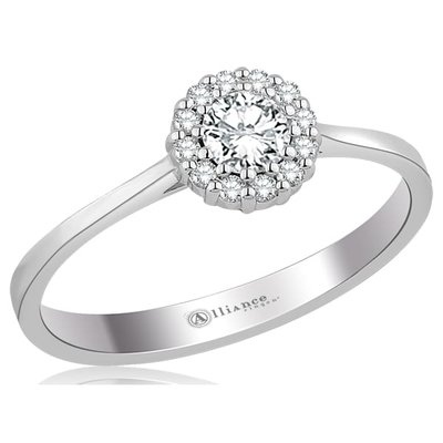 Verlovingsring in 14 karaat 585 witgoud met diamant, vanaf