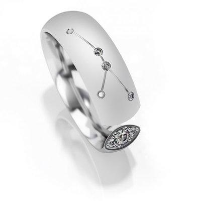 Trouwringen sterrenbeeld Kreeft in zilver met diamant(en) per stuk