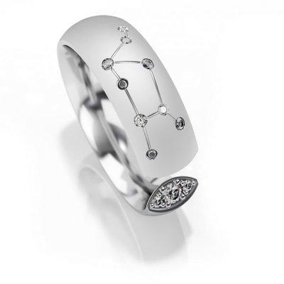 Trouwringen sterrenbeeld Maagd in zilver met diamant(en) per stuk