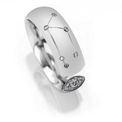Trouwringen sterrenbeeld Weegschaal in zilver met diamant(en) per stuk