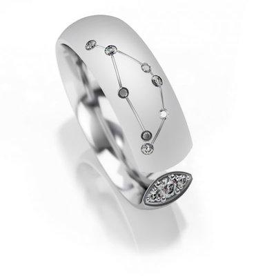 Trouwringen sterrenbeeld Steenbok in zilver met diamant(en) per stuk