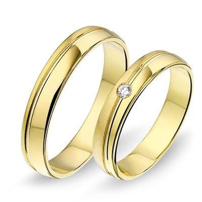 Trouwringen in 14 karaat 585 geelgoud met diamant(en) per paar