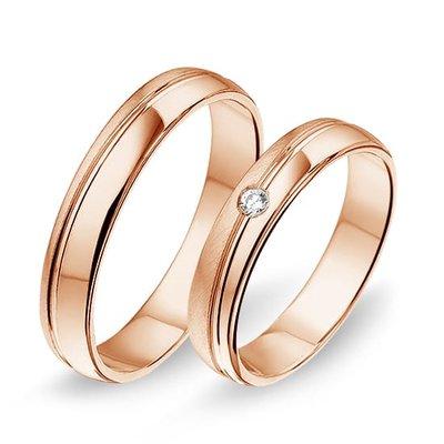 Trouwringen in 14 karaat 585 rosé goud met diamant(en) per paar