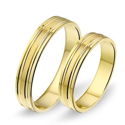 Trouwringen in 14 karaat 585 geelgoud zonder diamant(en) per paar