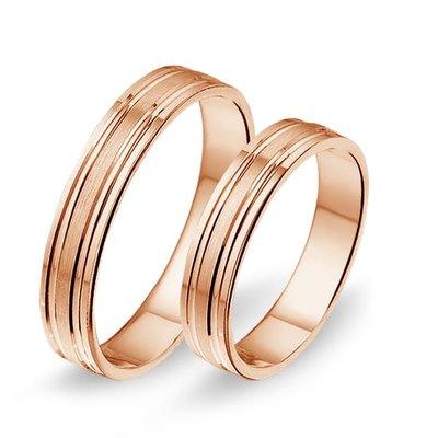 Trouwringen in 14 karaat 585 rosé goud zonder diamant(en) per paar