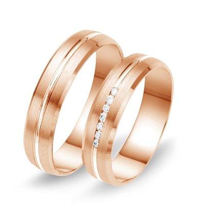 Trouwringen in 8 karaat 333 rosé met diamant(en) per paar