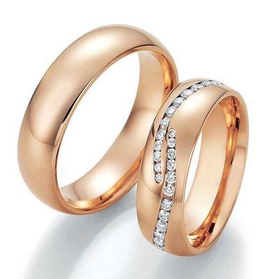 Trouwringen in 8*/14/18 karaat rosé goud per paar vanaf