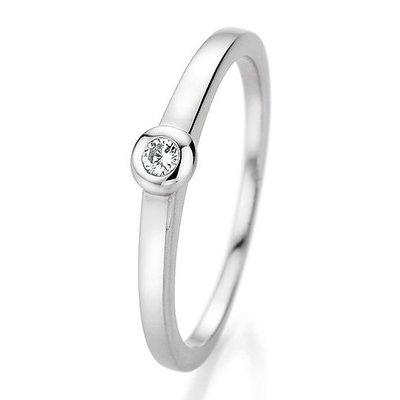 Verlovingsring in 14/18 karaat 585 witgoud met 0,06 ct diamant