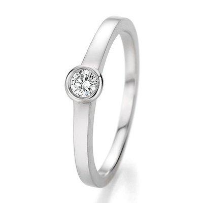 Verlovingsring in 14/18 karaat 585 witgoud met 0,20 ct diamant