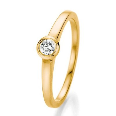 Verlovingsring in 14/18 karaat 585 geelgoud met 0,15 ct diamant