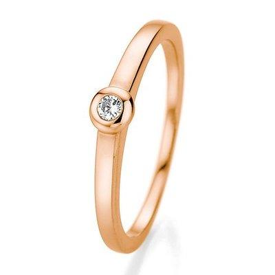Verlovingsring in 14/18 karaat 585 rosé goud met 0,06 ct diamant