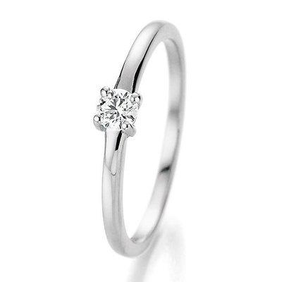 Verlovingsring in 14/18 karaat 585 witgoud met 0,15 ct diamant