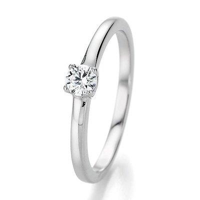 Verlovingsring in 14/18 karaat 585 witgoud met 0,25 ct diamant
