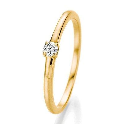 Verlovingsring in 14/18 karaat 585 geelgoud met 0,10 ct diamant