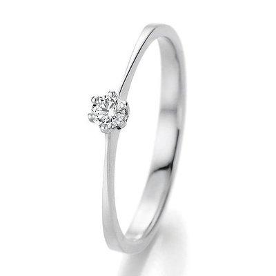 Verlovingsring in 14/18 karaat 585 witgoud met 0,10 ct diamant