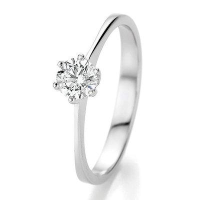 Verlovingsring in 14/18 karaat 585 witgoud met 0,50 ct diamant