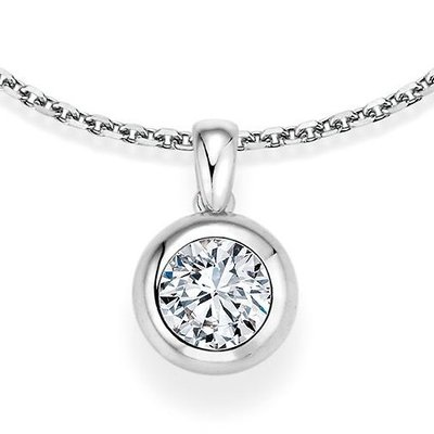 Kettinghanger in witgoud ronde vatting met diamant vanaf