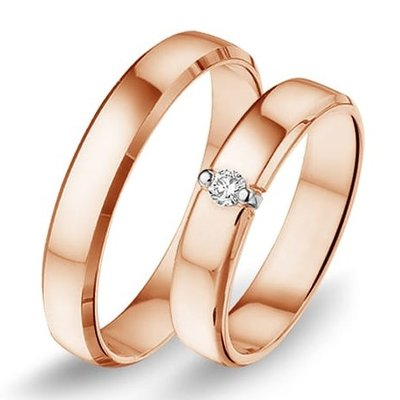 Actie trouwringen in 8/14/18 karaat rosé goud per paar vanaf