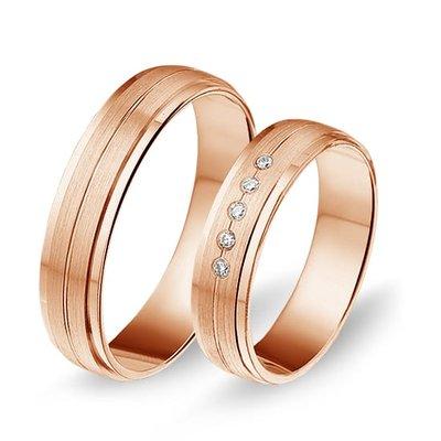 Actie trouwringen in 8/14/18 karaat roségoud per paar vanaf