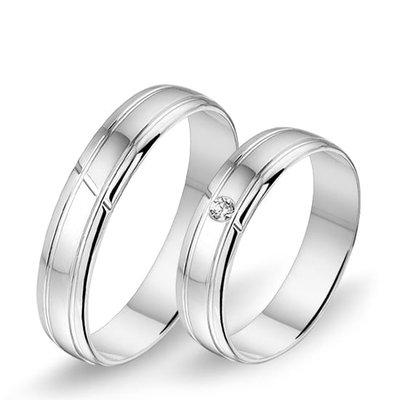 Actie trouwringen in 8/14/18 karaat witgoud per paar vanaf