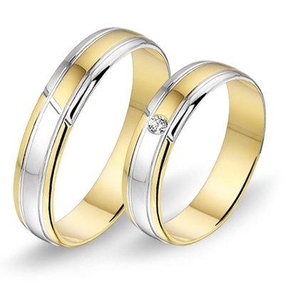 Actie trouwringen in 8/14/18 karaat bicolour goud per paar vanaf