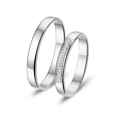 Actie trouwringen in platina 600 met diamant(en) per paar