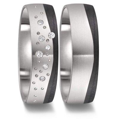 Trouwringen in zwart Carbon en Titanium met diamant(en) per paar