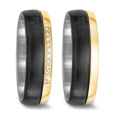 Trouwringen in Carbon, Titanium en 18 karaat geelgoud met diamant(en) per paar
