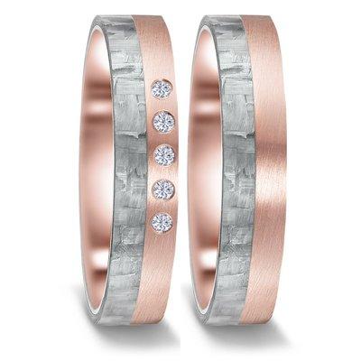 Trouwringen in grijs Carbon en 14 karaat rosé goud met diamant(en) per paar