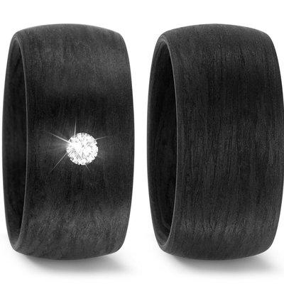 Trouwringen in Carbon met diamant(en) per paar