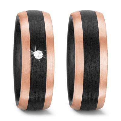 Trouwringen in Carbon met 14 karaat roségoud met diamant(en) per paar