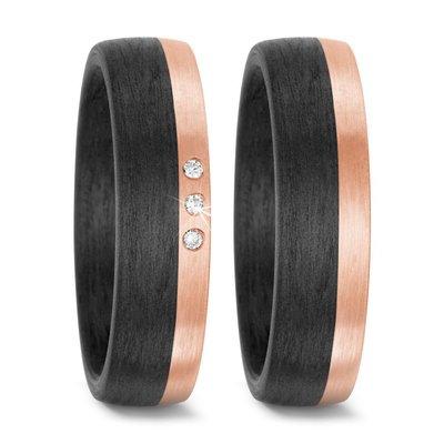 Trouwringen in Carbon en 14 karaat roségoud met diamant(en) per paar