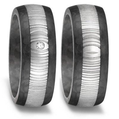 Trouwringen in Carbon en Edelstaal met diamant(en) per paar
