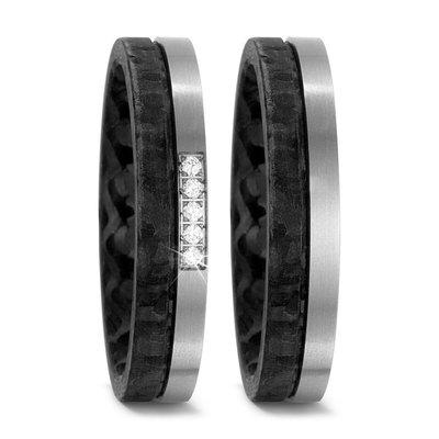 Trouwringen in Carbon en Titanium met diamant(en) per paar