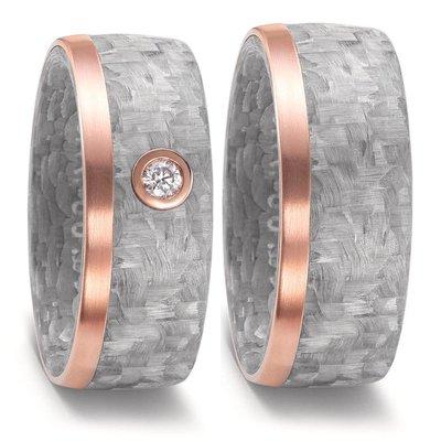 Trouwringen in grijs Carbon en 18 karaat rosé goud met diamant(en) per paar