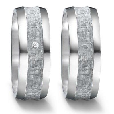Trouwringen in grijs Carbon en titanium met diamant(en) per paar