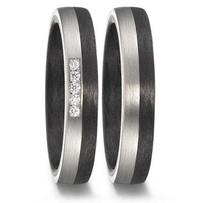 Trouwringen in Carbon en Palladium met diamant(en) per paar