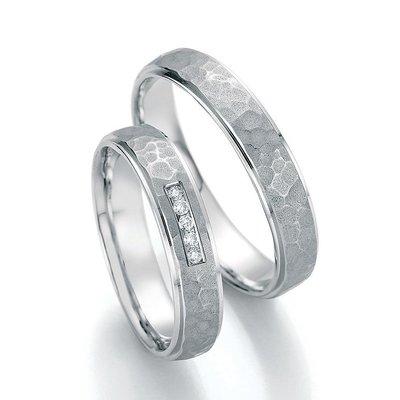 Trouwringen in platina 600 met diamant(en) per paar