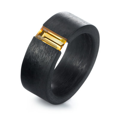 Solitair ring Carbon 9 mm. met citrien edelsteen per stuk
