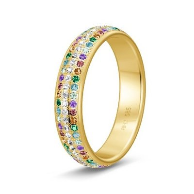 Solitair ring in 14/18 karaat geelgoud diamond lovers