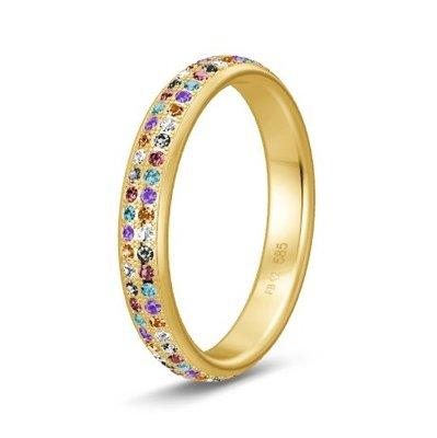 Solitair ring in 14/18 karaat geelgoud diamond lovers